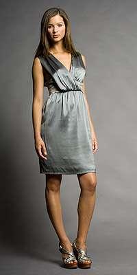 vestido cena de empresa gris cynthia vincent