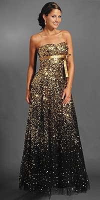 vestido fin de año dorado jovani