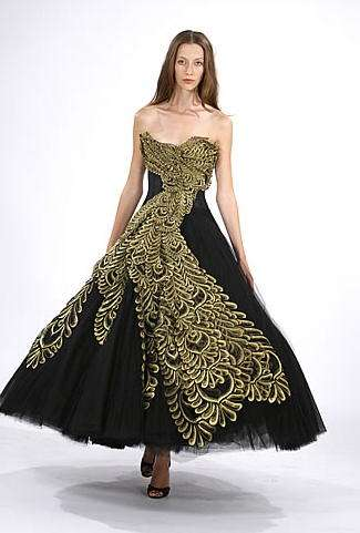 vestido negro dorado marchesa