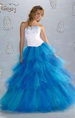 vestido azul blanco fantasy
