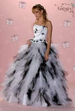 vestido 15 blanco y negro fantasy