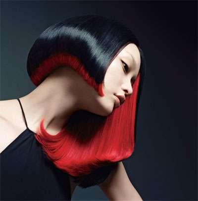 peinados bicolor color negro rojo