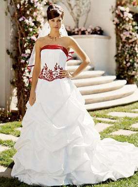 Vestidos de novia cortos blanco con rojo
