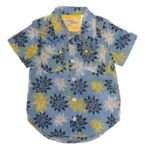 camisa azul amarillo plumetas