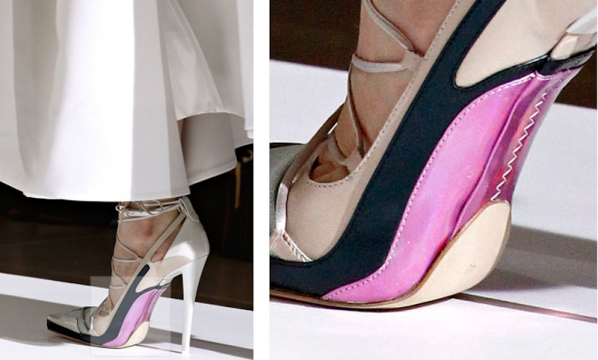 jil sanders neon and metallic soled sandals were the talk of milan and are sure to sell out as soon as they hit stores with raf simons last collection for the label