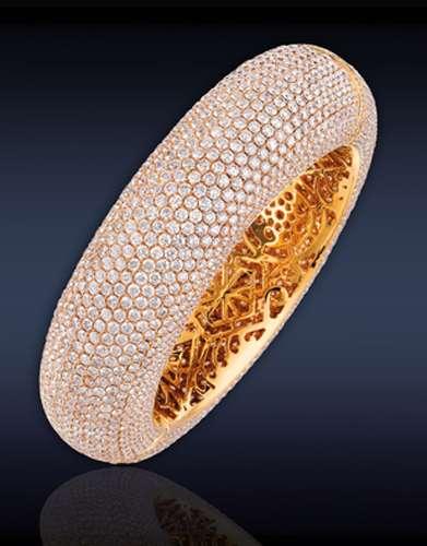 03 05 pulsera de diamantes blancos sobre oro rosa