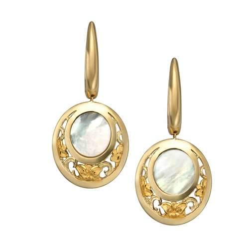 DA12755 01 Jazmýýn earrings in yellow gold and mother of pearl