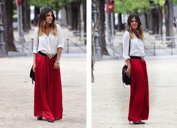 falda larga con blusa