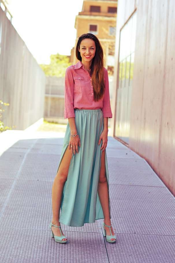 zapatos falda larga