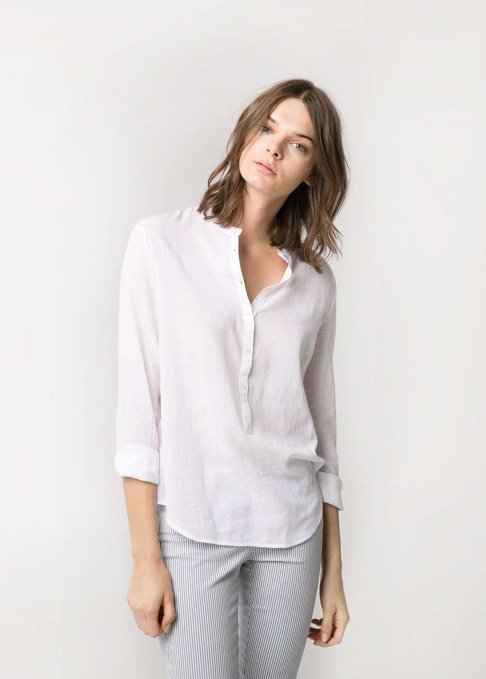 blusa de mango blanco