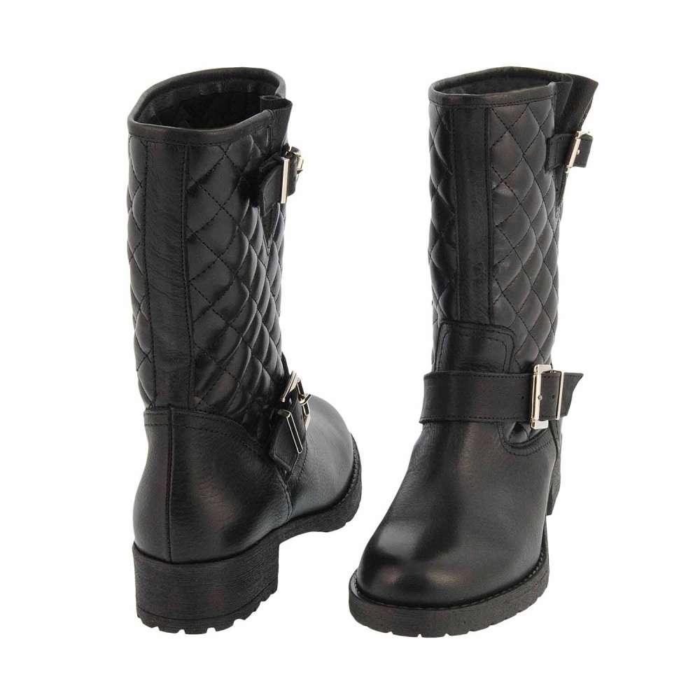 PAULA ALONSO - botines-piel-negra-con-acolchado-estilo-motero