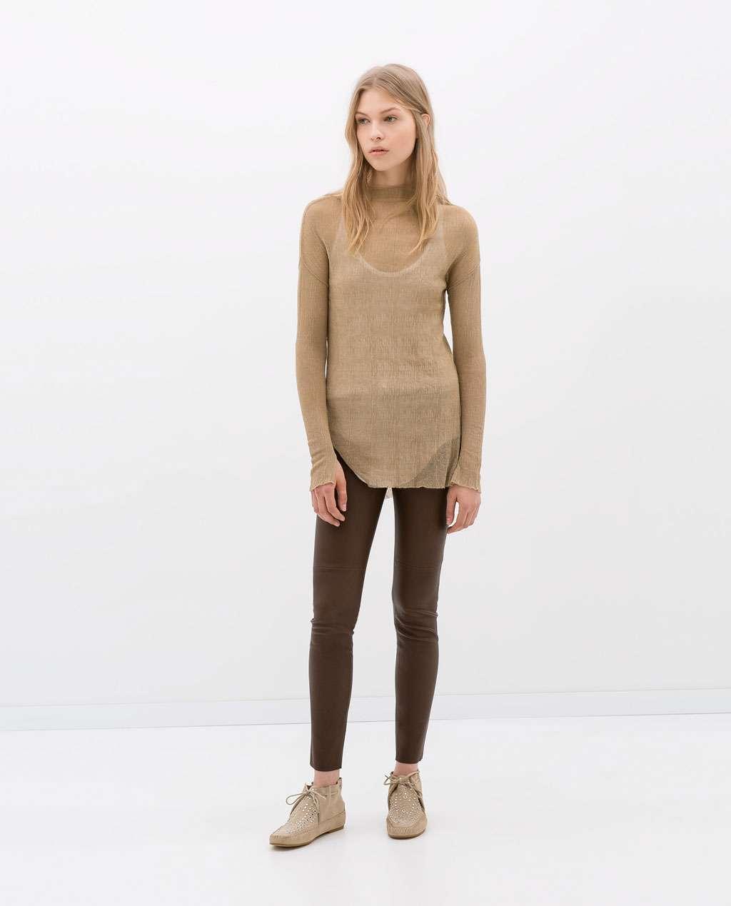 pantalon piel marron zara