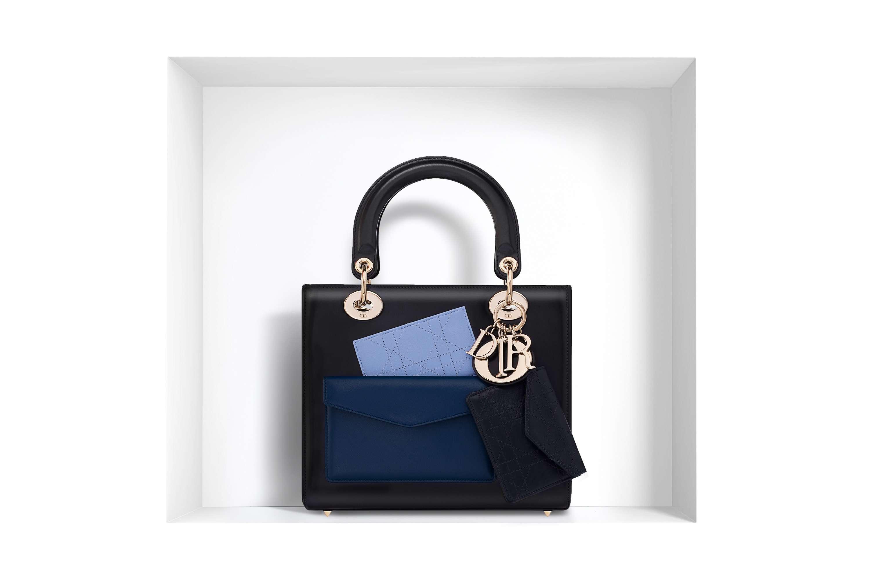 bolso Lady Dior - negro con bolsillos azules