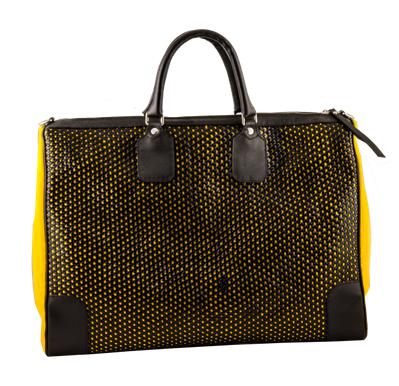 bolso de viaje amarillo y negro de mar flores