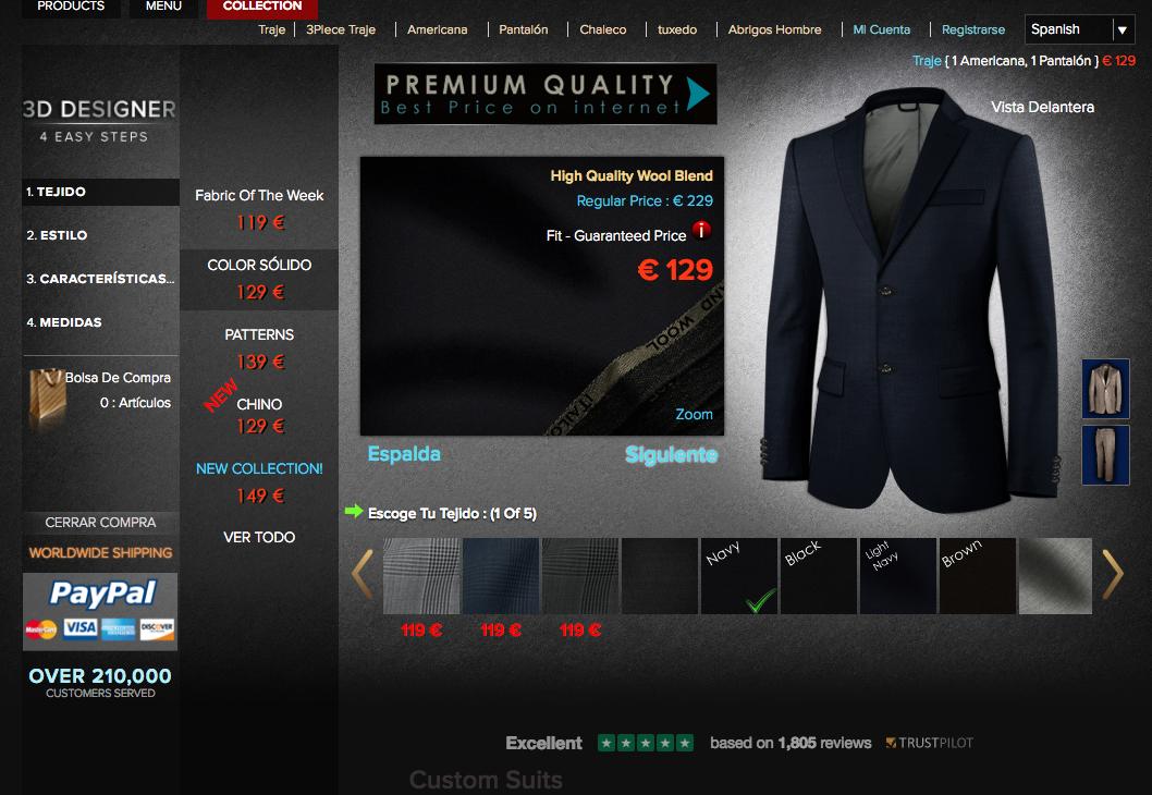 disenador de trajes online a medida