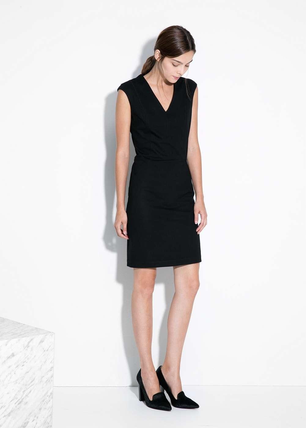 vestido de coctel negro - MANGO