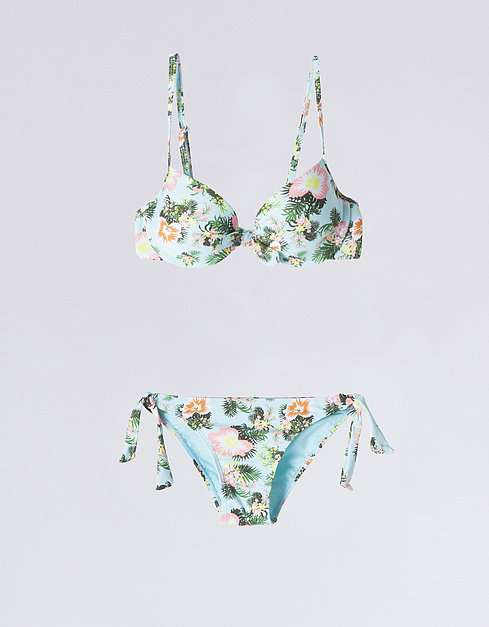 ropa de moda - bikini push up lazo flores