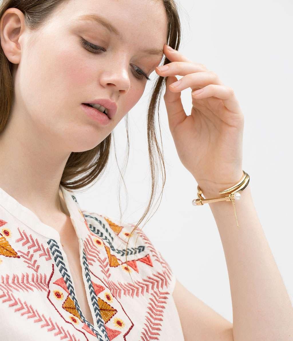 pulsera de moda oro zara