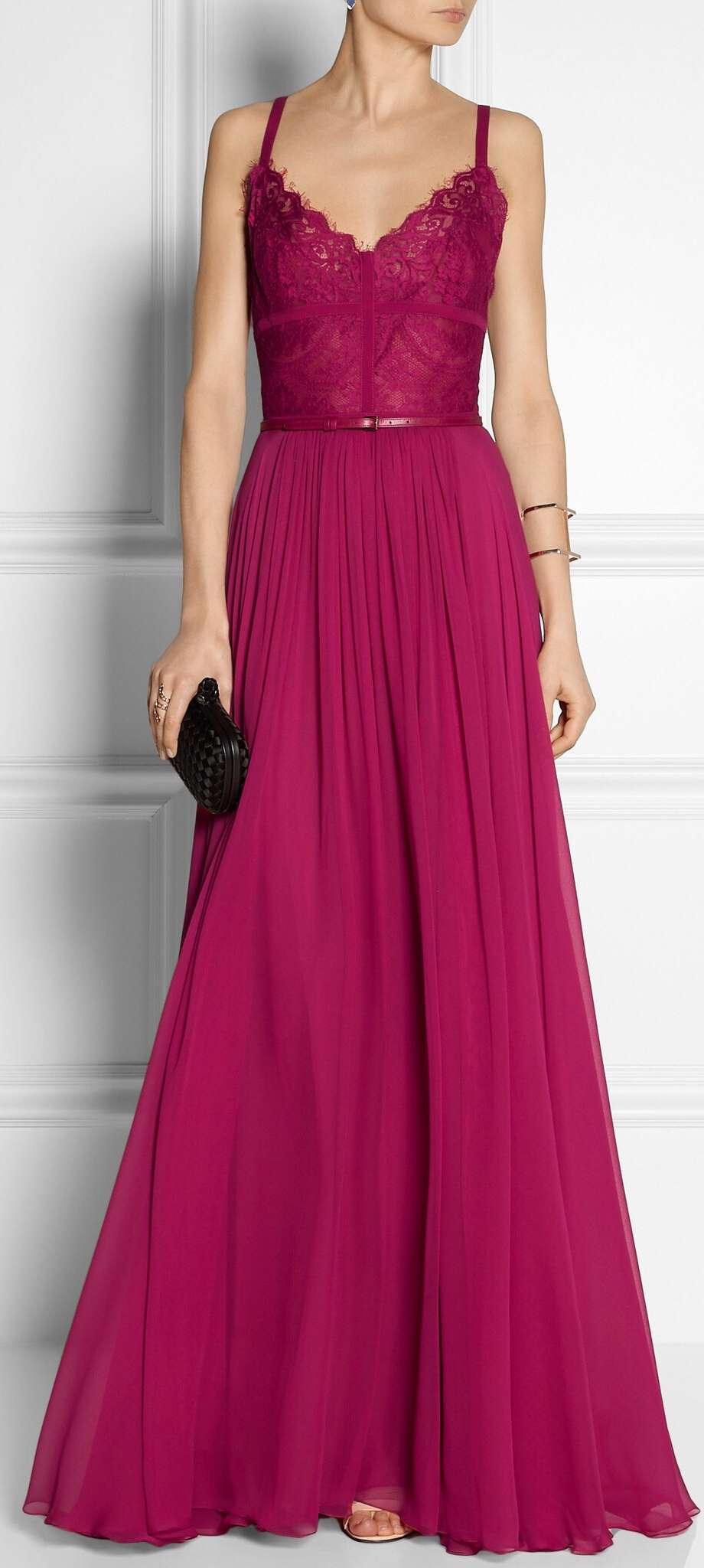 vestido frambuesa con cinturon para boda de noche