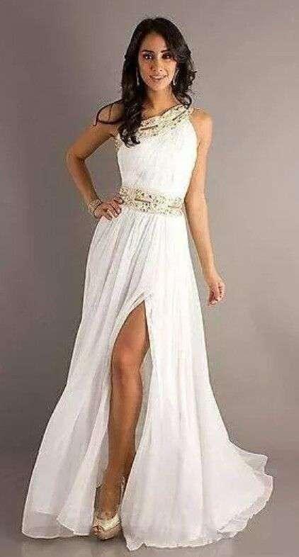 vestido largo griego para una boda de noche