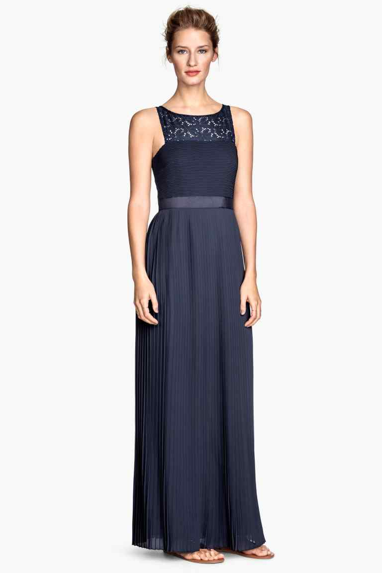vestido largo plisado para boda por la noche