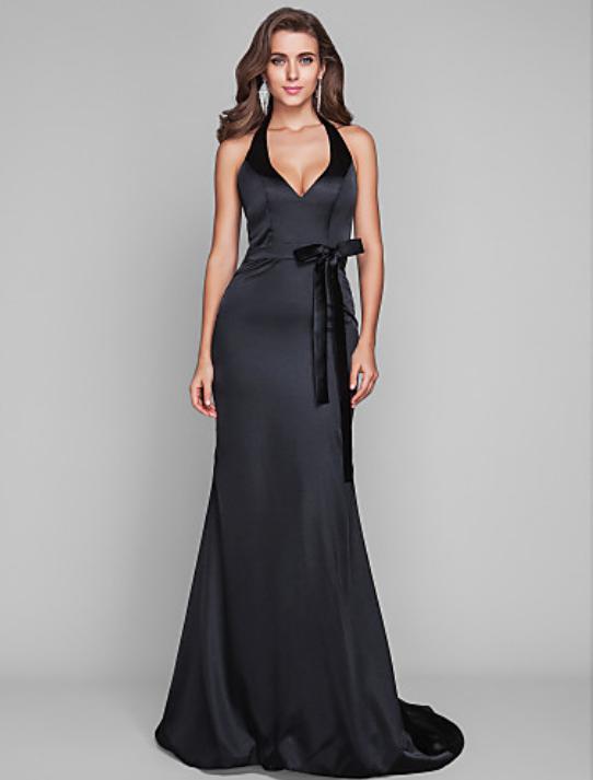 vestido negro de fiesta satén