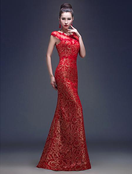 vestido rojo de fiesta corte de sirena