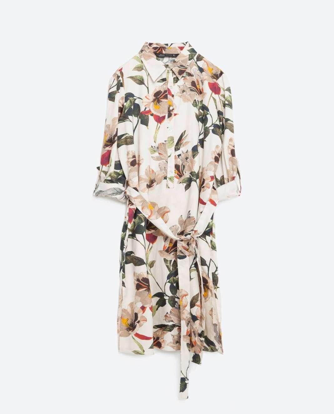 vestidos de Zara para el verano 2016 . flores camisa