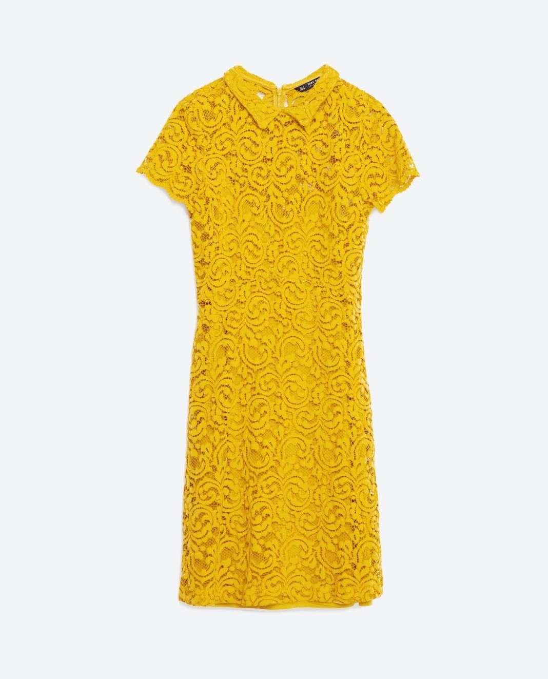 vestidos de Zara para el verano 2016 amarillo encaje