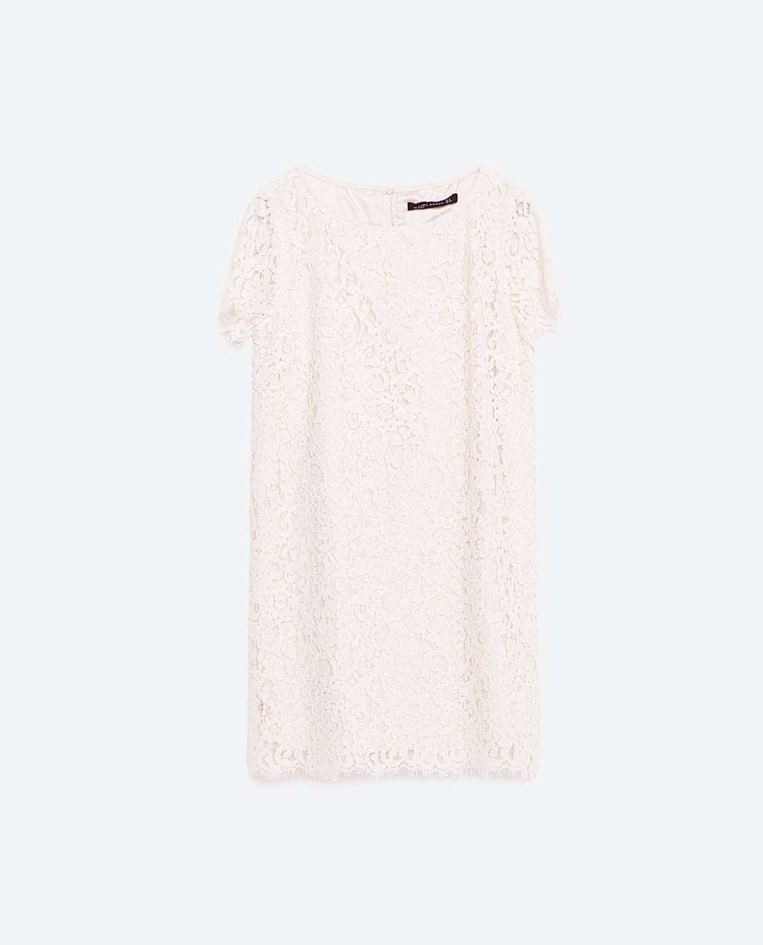 vestidos de Zara para el verano 2016 blanco encaje