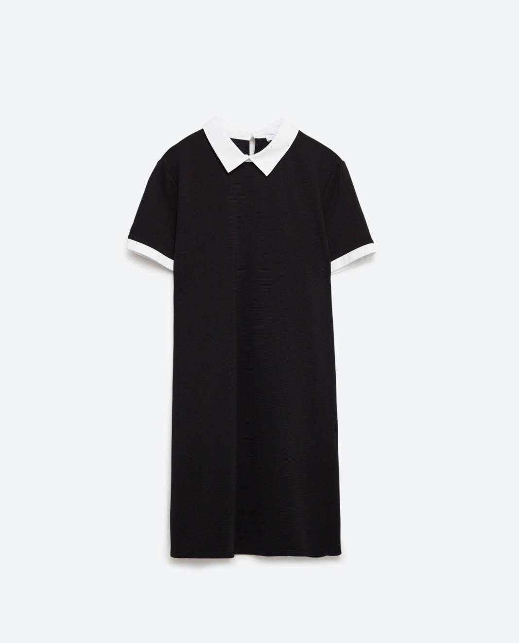 vestidos de Zara para el verano 2016 blanco y negro cuello