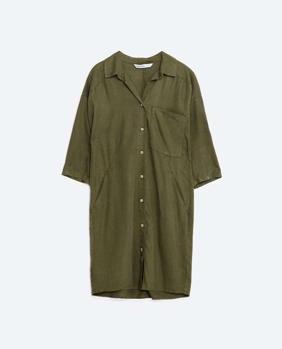 vestidos de Zara para el verano 2016 camisa verde
