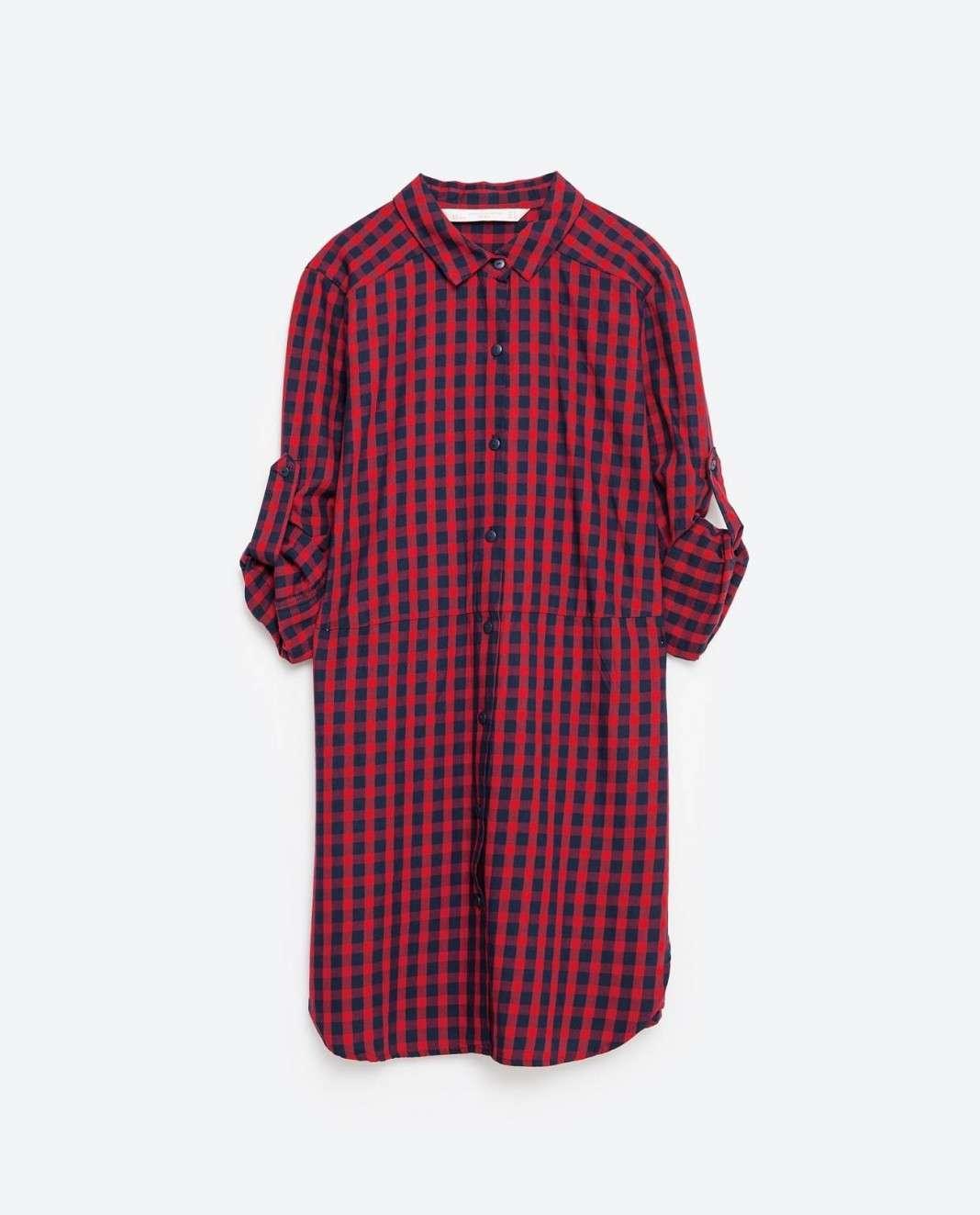 vestidos de Zara para el verano 2016 cuadros rojos