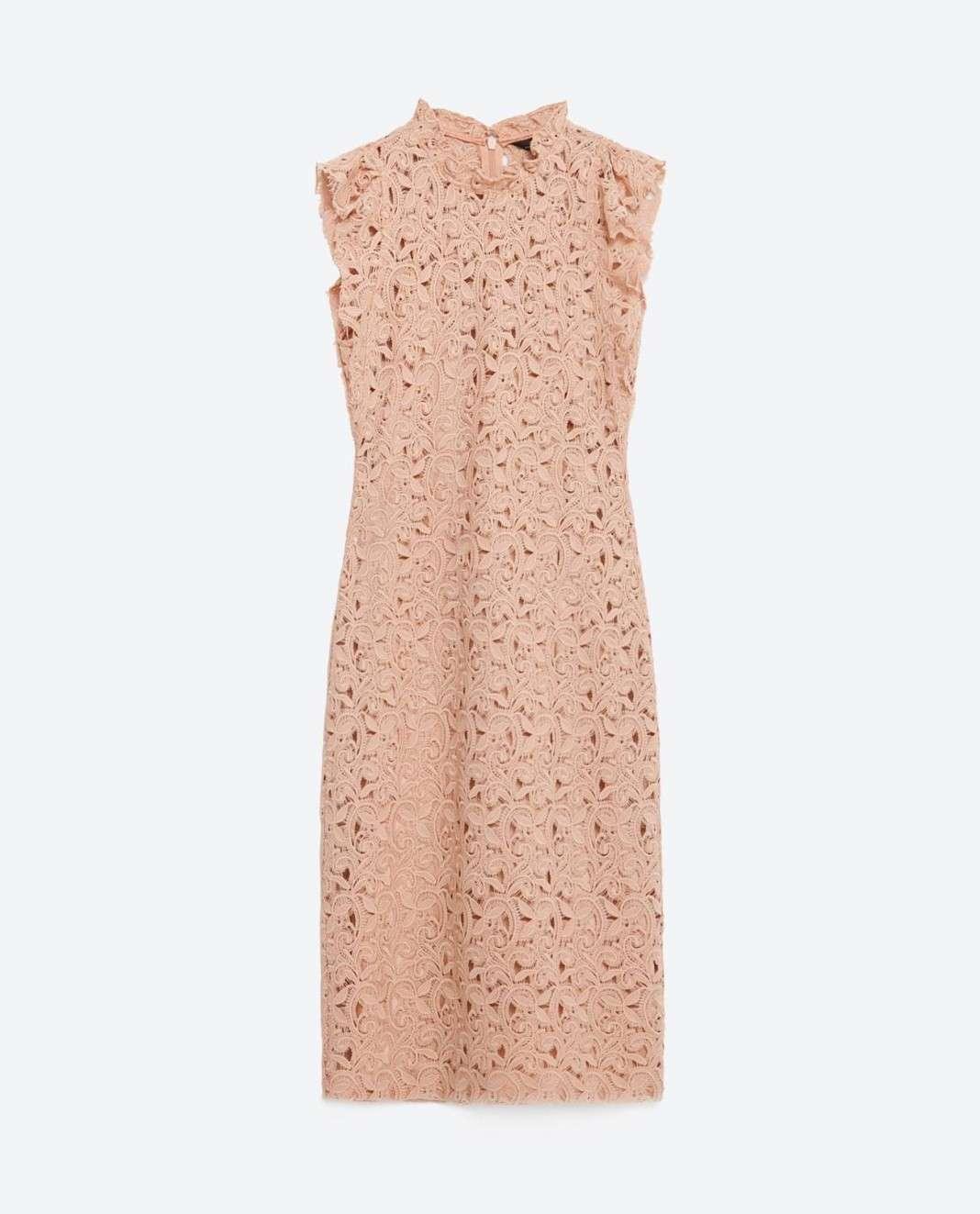 vestidos de Zara para el verano 2016 encaje rosa palo