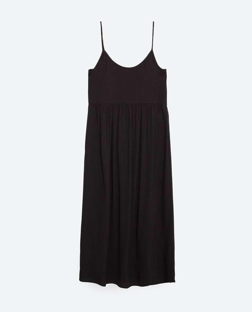 vestidos de Zara para el verano 2016 negro tirantes