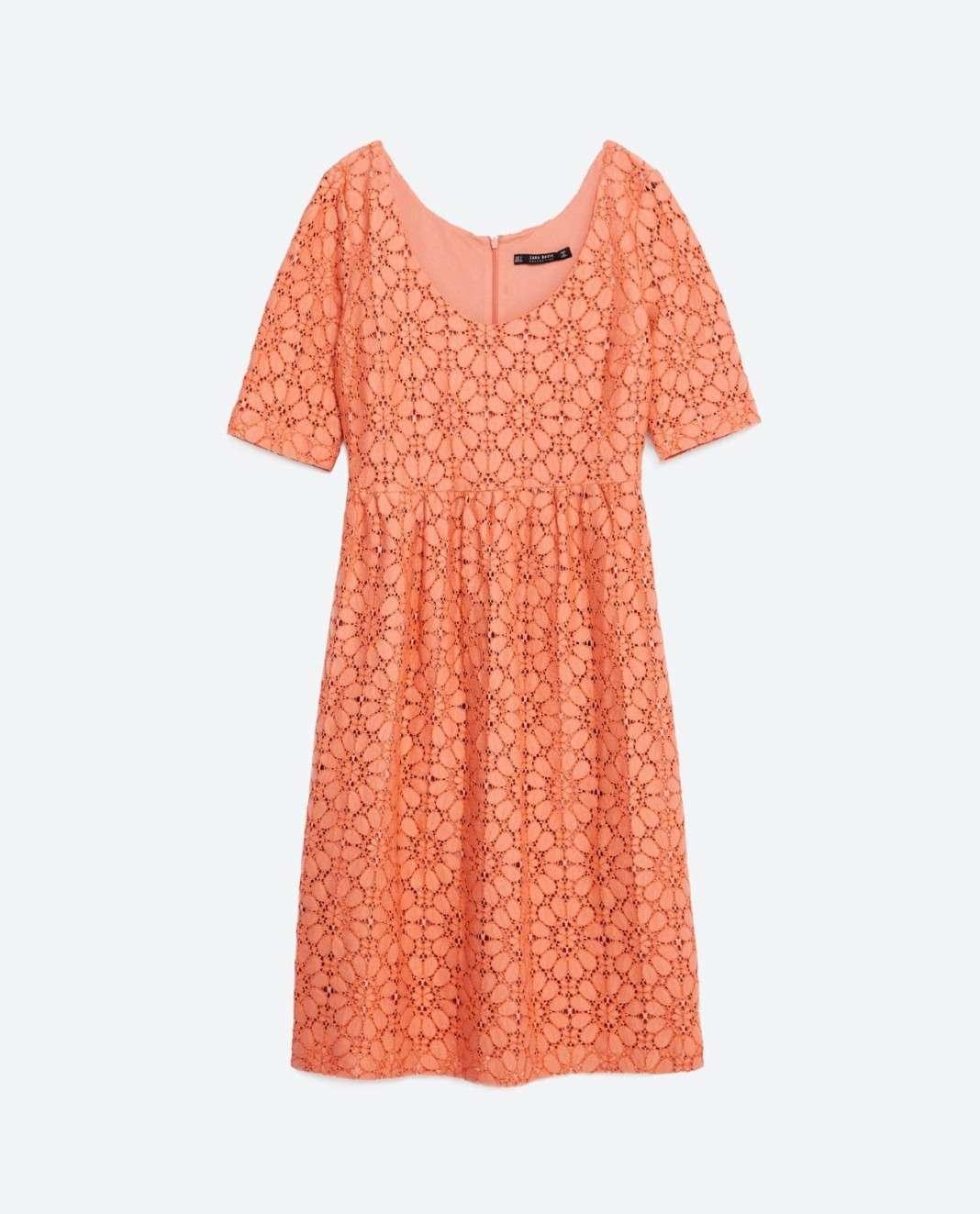 vestidos de Zara para el verano 2016 salmon encaje