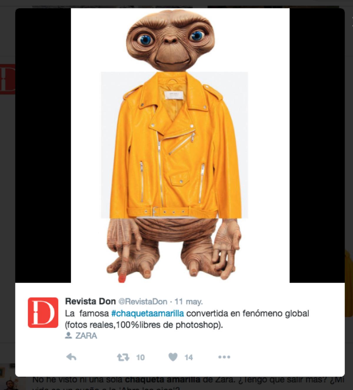 chaqueta amarilla zara meme