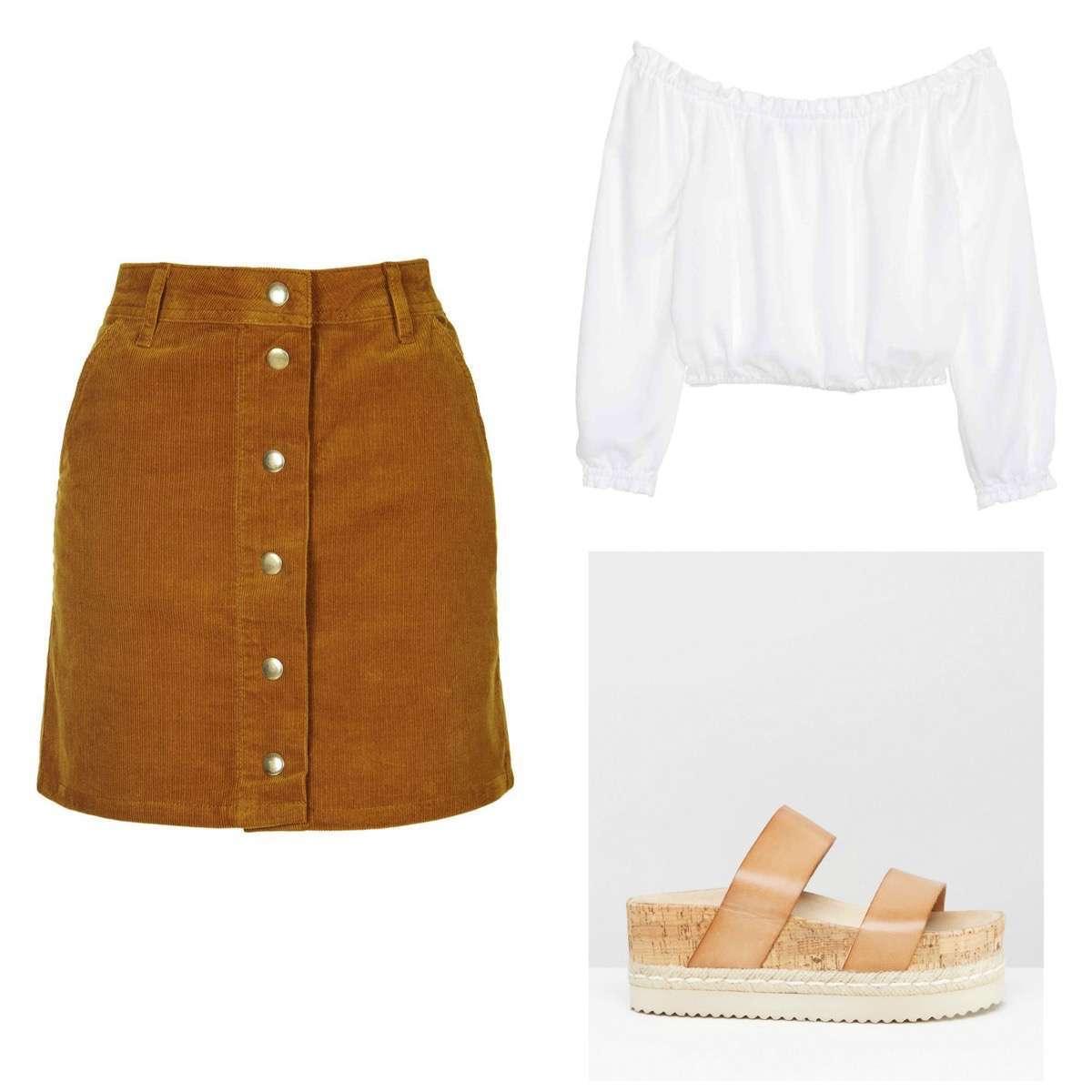 Falda con botones marron