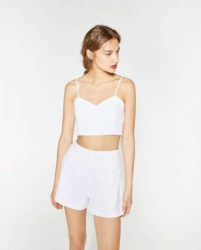 cropped top y short - blanco