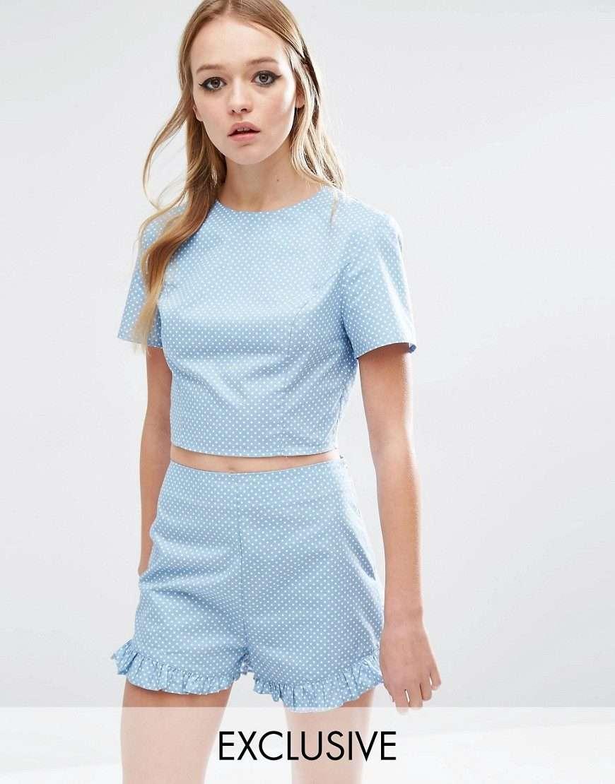 cropped top y short vintage azul e1464899578909
