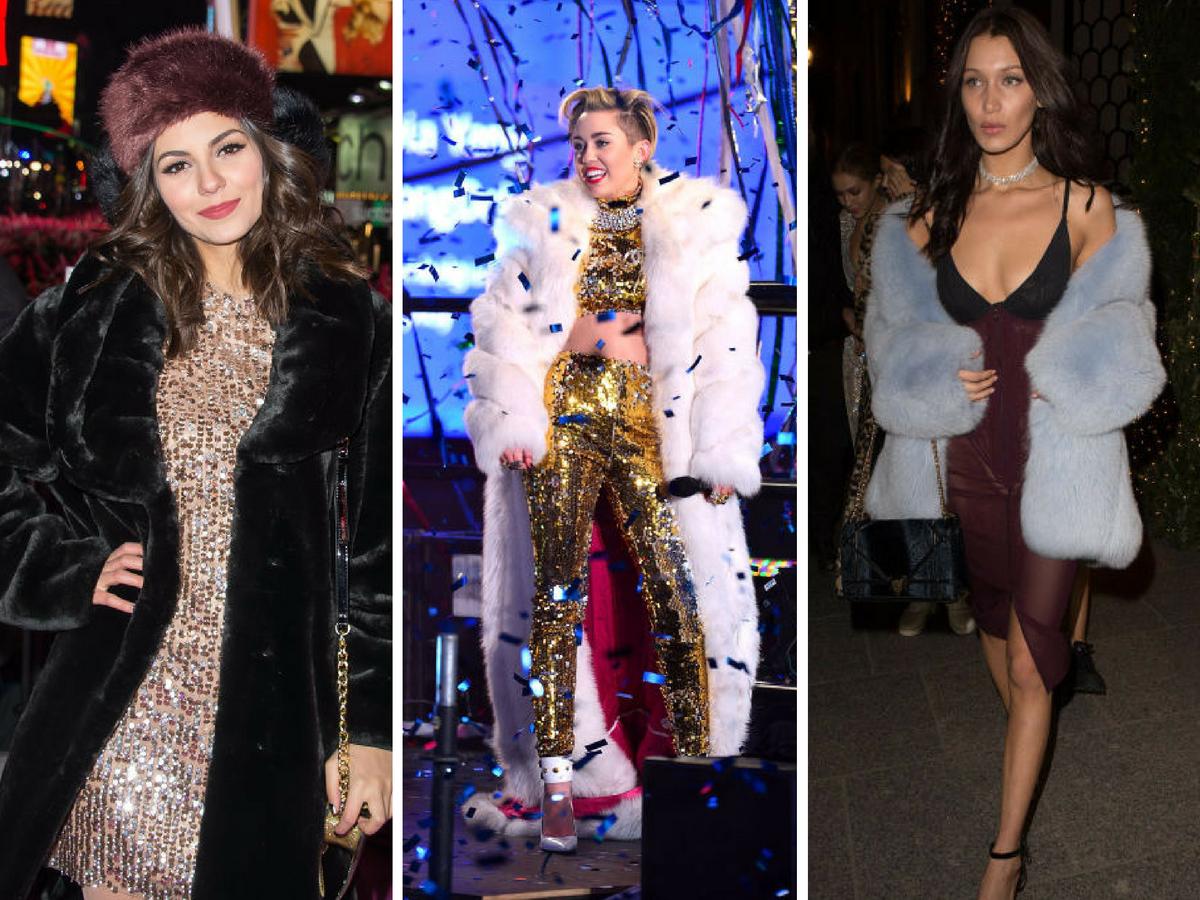 Vestidos de Nochevieja - Con abrigo de pelos