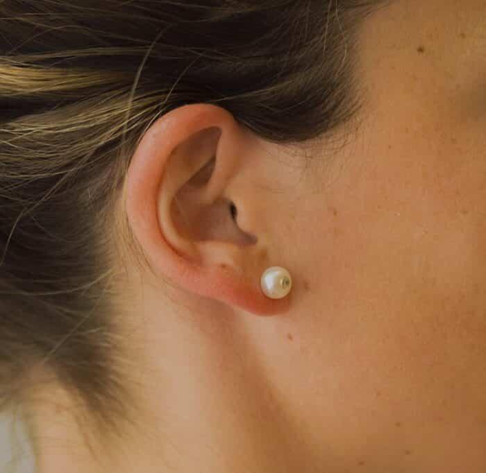 pendientes perla con circonita